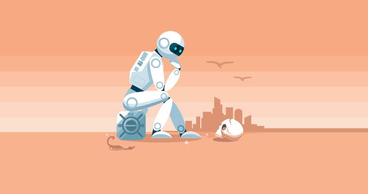 AI robot looking at skull in desert