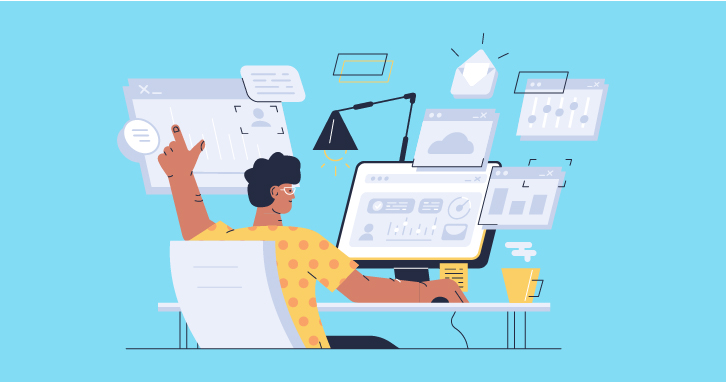Man using several computer screens.